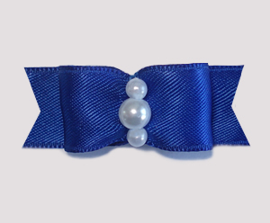 "#1746 - 5/8"" Dog Bow - Satin, Regal Blue, Faux Pearls"