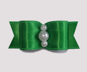 "#1748 - 5/8"" Dog Bow - Satin, Rich Deep Green, Faux Pearls"
