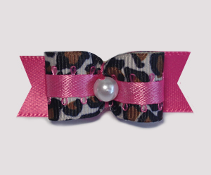 "#1755 - 5/8"" Dog Bow - Hot Pink Leopard Mania, Faux Pearl"
