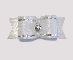 "#1758 - 5/8"" Dog Bow- Satin, Angel White & Silver, Pearls/Silver"