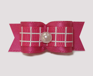 "#1763 - 5/8"" Dog Bow - TicTacToe, Hot Pink Satin, Faux Pearl"