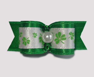 "#1765 - 5/8"" Dog Bow - Lucky Shamrocks, Green Satin"