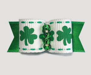 "#1767 - 5/8"" Dog Bow - Kiss Me I'm Irish, St Patrick's Shamrocks"