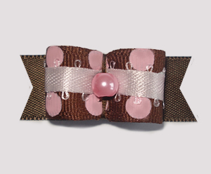"#1769 - 5/8"" Dog Bow - Sweet Strawberry 'n Chocolate, Dots"