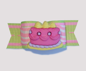 "#1793 - 5/8"" Dog Bow -Squigglies, Pink Birthday Cake"