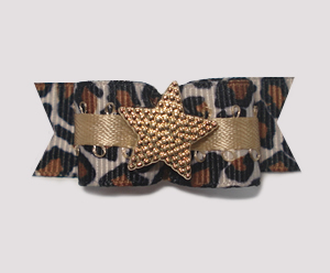 "#1799 - 5/8"" Dog Bow - Gorgeous Leopard with Gold Star"