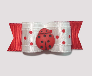 "#1808 - 5/8"" Dog Bow - Adorable Tiny Dots, Sweet Ladybug"