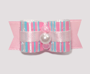 "#1813 - 5/8"" Dog Bow - Sweet Cotton Candy, Baby Pink, Pearl"