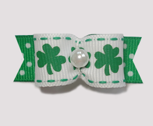 "#1822 - 5/8"" Dog Bow - Irish Shamrocks with Cute Dots, Pearl"