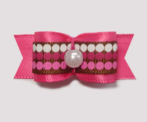 "#1825 - 5/8"" Dog Bow - Chocolate & Raspberry Dots, Pink/Pink"