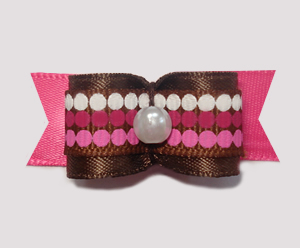 "#1826 - 5/8"" Dog Bow - Chocolate & Raspberry Dots, Brown/Pink"