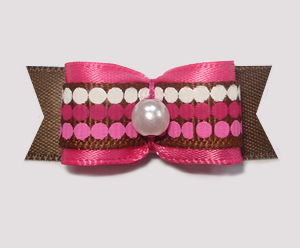 "#1827 - 5/8"" Dog Bow - Chocolate & Raspberry Dots, Pink/Brown"
