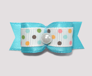 "#1830 - 5/8"" Dog Bow - Ice Cream Dots, Blue, Pearl"