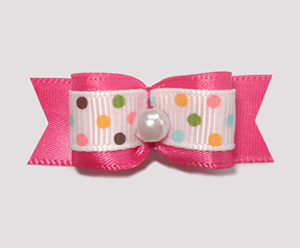 "#1831 - 5/8"" Dog Bow - Ice Cream Dots, Hot Pink, Pearl"