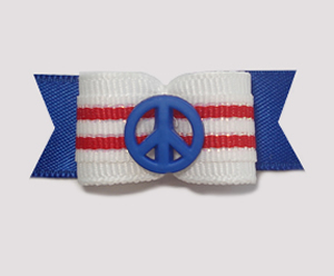 "#1832 - 5/8"" Dog Bow - Patriotic Give Peace a Chance, Stripes"