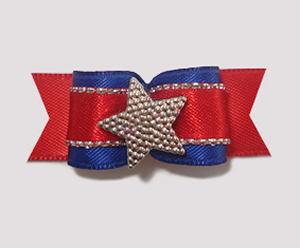 "#1833 - 5/8"" Dog Bow - Patriotic Star, Blue on Red"