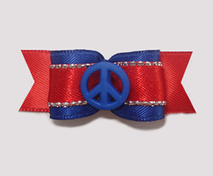 "#1834 - 5/8"" Dog Bow - Patriotic Peace, Red, Silver & Blue"