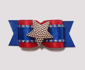"#1835 - 5/8"" Dog Bow - Patriotic Star, Red on Blue"