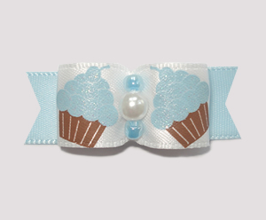 "#1838 - 5/8"" Dog Bow - Sweet Shimmery Cupcakes, Blue"