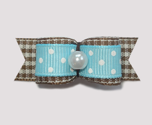 "#1846 - 5/8"" Dog Bow - Spring Picnic, Blue/White & Brown Gingham"
