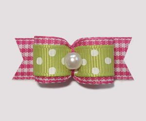"#1847 - 5/8"" Dog Bow - Spring Picnic, Green/White & Pink Gingham"