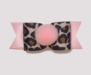 "#1849 - 5/8"" Dog Bow - Girlie Leopard, Soft Pink Pom-Pom"