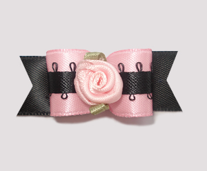 "#1868 - 5/8"" Dog Bow - Uptown Girly, Soft Pink/Black, Rosette"