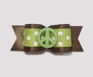 "#1874 - 5/8"" Dog Bow - Adorable Dots, Green/Brown, Green Peace"