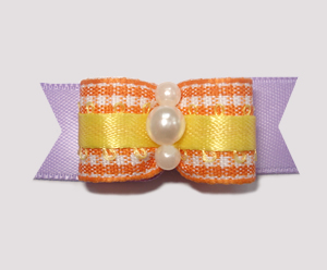 "#1880 - 5/8"" Dog Bow - Sweet Orange Gingham w/Yellow & Lavender"