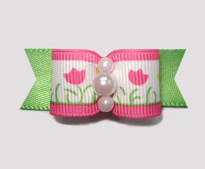 "#1884 - 5/8"" Dog Bow - Cute Flower Garden, Pink/Green"