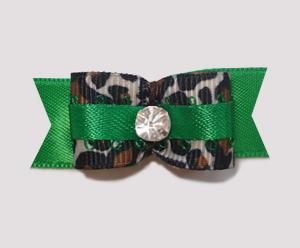 "#1900 - 5/8"" Dog Bow - Rich Green Satin 'n Leopard, Rhinestone"