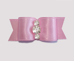 "#1917 - 5/8"" Dog Bow - Satin, Baby Pink, Triple Rhinestones"