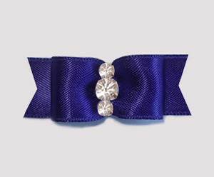 "#1920 - 5/8"" Dog Bow- Satin, Regal Dk Purple, Triple Rhinestones"