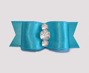 "#1922 - 5/8"" Dog Bow - Satin, Electric Blue, Triple Rhinestones"