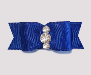 "#1923 - 5/8"" Dog Bow - Satin, Regal Blue, Triple Rhinestones"