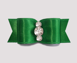 "#1925 - 5/8"" Dog Bow - Satin, Deep Green, Triple Rhinestones"