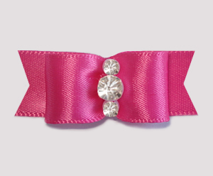 "#1927 - 5/8"" Dog Bow - Satin, Hot Pink, Triple Rhinestones"
