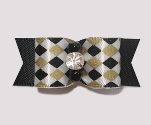 "#1928 - 5/8"" Dog Bow - Chic Diamonds, Gold & Black, Rhinestone"