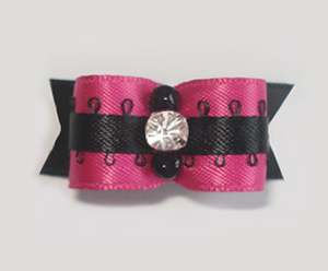"#1933 - 5/8"" Dog Bow - Sassy Hot Pink & Black, Bling Rhinestone"