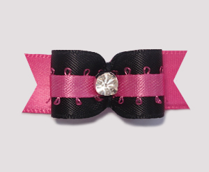 "#1934 - 5/8"" Dog Bow - Dramatic Hot Pink & Black, Rhinestone"