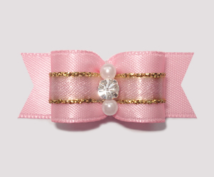 "#1935 - 5/8"" Dog Bow - Princess Soft Pink & Gold, Rhinestone"