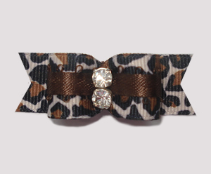 "#1937 - 5/8"" Dog Bow - Stunning Leopard with Bling Rhinestones"