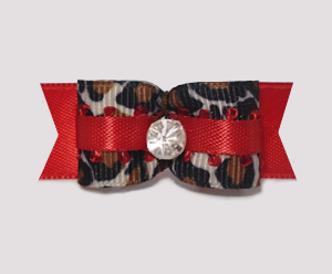 "#1942 - 5/8"" Dog Bow - Dramatic Red Leopard Mania, Rhinestone"