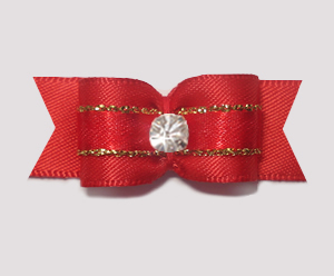 "#1943 - 5/8"" Dog Bow - Classic Red Satin with Gold, Rhinestone"