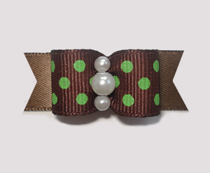 "#1945 - 5/8"" Dog Bow - Sweet Chocolate & Lime, Brown w/Lime Dots"