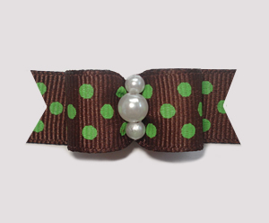 "#1947 - 5/8"" Dog Bow - Sweet Chocolate & Lime, Dots, Dots, Dots"