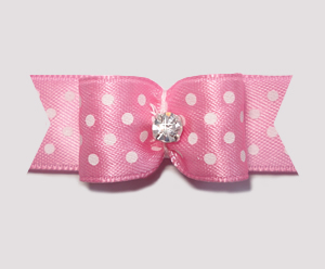 "#1949 - 5/8"" Dog Bow - Little Sugar, Pink/White Dots, Rhinestone"