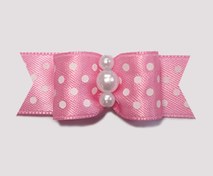 "#1951 - 5/8"" Dog Bow - Little Sugar, Pink/White Dots, Pearls"