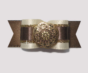 "#1954 - 5/8"" Dog Bow - Vanilla & Chocolate Truffle with Gold"