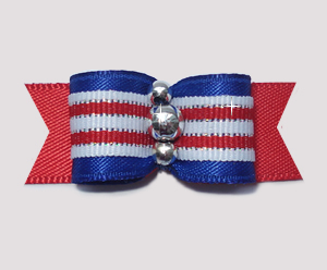 "#1961 - 5/8"" Dog Bow - Patriotic Stripes, Red, White & Blue"